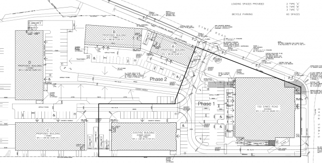 The phased site plan, image via submission to the City of Toronto