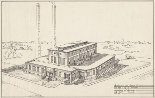 An archival photo from City of Toronto Archives of the former Symes Road Incinerator that will become the new home of Junction Craft Brewing in 2017. (City of Toronto Archives)