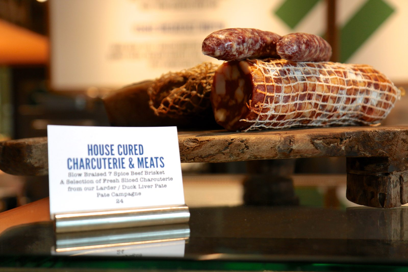 Charcuterie is cured in-house.